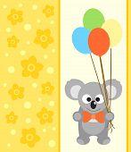 stock photo of koalas  - Happy holiday background card with funny koala - JPG