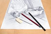 picture of pencil eraser  - Drawing of naturmort by graphite pencil with apple tea infuser and plaster palm leaf - JPG