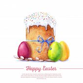 foto of willow  - Easter cake eggs and willow twigs painted watercolor - JPG