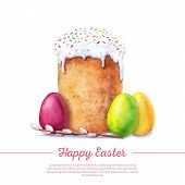 pic of willow  - Easter cake eggs and willow twigs painted watercolor - JPG
