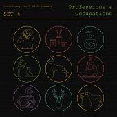 foto of working animal  - Professions and occupations coloured icon set - JPG