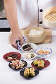 foto of chinese menu  - Chef presented Chinese Dim Sum / Cooking Dim sum concept
