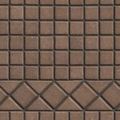 foto of paving  - Brown Pave Slabs in the Form of Small Squares and Triangles - JPG