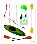 foto of kayak  - Illustration Collection of Accessory and Equipment for Canoe or Kayak Sport Isolated on White Background - JPG