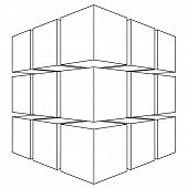 foto of parallelepiped  - Wireframe mesh outline cube - JPG