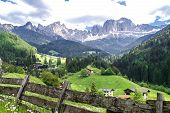 foto of south tyrol  - View of the village Tiers and the Rosengarten mountains in the Dolomites South Tyrol - JPG