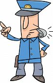 image of policeman  - Cartoon Illustration of Policeman Blowing the Whistle - JPG