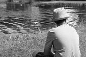 stock photo of duck  - A boy sitting in the grass watching the ducks - JPG