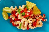 image of poblano  - Ceviche de Camaron shrimp mexican food on blue plate - JPG