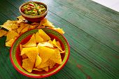 pic of nachos  - Guacamole with avocado tomatoes and nachos mexican food - JPG