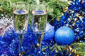 foto of sparkling wine  - Christmas still life  - JPG