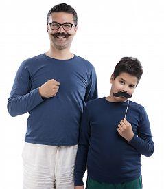 foto of pre-adolescent child  - Child with Fake Mustache  - JPG