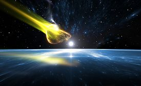 picture of comet  - Falling comet and blue Planet Earth illustration - JPG