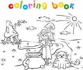 pic of cauldron  - witch cooks a potion in a cauldron near a mushroom house - JPG