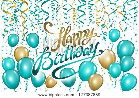 balloons happy birthday on black gold blue balloon sparkles holiday background happiness birth day
