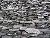 picture of irish moss  - closeup of ancient dry stone wall at Dunbeg Fort Ireland - JPG