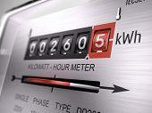 Kilowatt hour electric meter, power supply meter - closeup view. 3d rendering poster