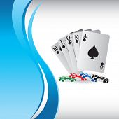 picture of playing card  - playing cards on vertical blue wave background - JPG