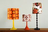 Three Vintage Table Lamps With Colorful Shades poster