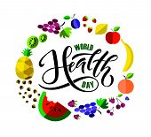 Hand Sketched Text world Health Day On Textured Background. Lettering Typography poster