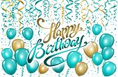 Balloons Happy Birthday On Black. Gold Blue Balloon Sparkles Holiday Background. Happiness Birth Day poster