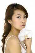 pic of asian woman  - Beautiful Asian woman and  orchid - JPG