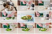 Постер, плакат: A Step By Step Collage Of Making Quail Egg Salad
