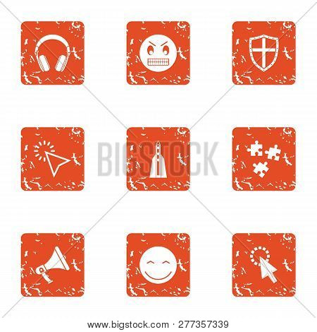 Raise Spirit Icons Set Grunge