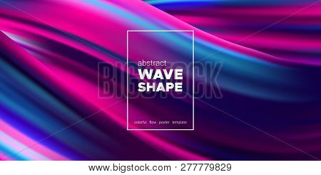 poster of Fluid Background With Wave Shapes In Pink, Purple And Blue Color. 3d Futuristic Flow Poster. Abstrac