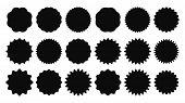 Sunburst Sticker. Vintage Sale Stickers, Burst Rays Promo Button And Sun Bursts Price Isolated Vecto poster
