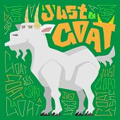 A Cute Goat. Vector Illustration Of An Animal On A Green Background With Handdrawn Lettering. poster
