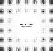 Halftone Star Circle Frame Background. Black Circular Border Using Halftone Dots Texture. Boom Backd poster