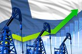 Finland Oil Industry Concept, Industrial Illustration - Growing Graph On Finland Flag Background. 3d poster