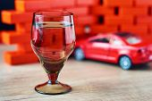 Drunk Driving Car Crash Accident. Do Not Drive After Drink Concept. Shot Glass And Broken Car poster