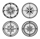 Vintage Nautical Compass Roses Or Windroses With Star Shaped Map Pointers Of North, East, South And  poster