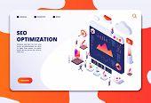 Seo Optimization. Ecommerce, Internet Marketing And Online Platform Isometric 3d Concept. Landing We poster