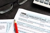 United States Federal Income Tax Return Irs 1040 Documents, With Pencil, Calculator And Eyeglasses poster