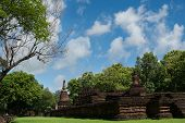Wat Phra Kaeo With Buddha Statues Historical Park In Kamphaeng Phet, Thailand (a Part Of The Unesco poster