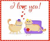 I Love You Greeting Card With Cute Cartoon Cats Couple Boy And Girl In Love. Male Cat In Top Hat And poster
