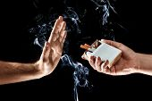 Hands Close-up, Stop Smoking Gesture, Give Up Cigarettes, Stop Smoking. Creative Background. The Con poster