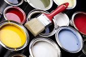 stock photo of paint brush  - Paint and brush - JPG