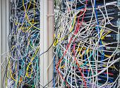 Switchboard panel with chaotic mess  cables connections, Chaos In Server Room, The tangled network c poster