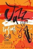 Vector Jazz Festival Poster Template. Hand Drawn Illustration And Lettering. Calligraphic Style. Per poster
