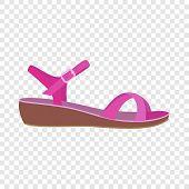Pink Sandal Icon. Flat Illustration Of Pink Sandal Icon For Web Design poster