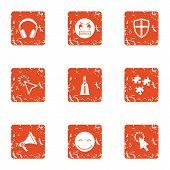 Raise Spirit Icons Set. Grunge Set Of 9 Raise Spirit Icons For Web Isolated On White Background poster