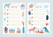 Bundle Of Wish List Templates Decorated By Potted Plants, Branches With Leaves, Pair Of Cute Dogs Ho poster