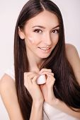 Beautiful Woman Face Close Up Studio On Pink. Picture Of Beautiful Woman Beautiful Woman In Spa Salo poster