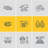 Vector Illustration Of 9 Naval Icons Line Style. Editable Set Of Mammal, Mussel, Binoculars And Othe poster