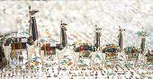 Peruvian Traditional Handicraft Llama Shapes From Silver At Market In Peru, South Americain. Close U poster