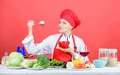 Eat Healthy. Healthy Ration. Girl Wear Hat And Apron Try Mushroom Taste. Woman Professional Chef Hol poster